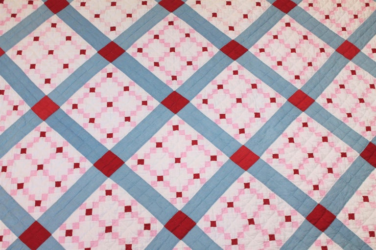 Adirondack Early 20th C Postage Stamp Quilt For Sale