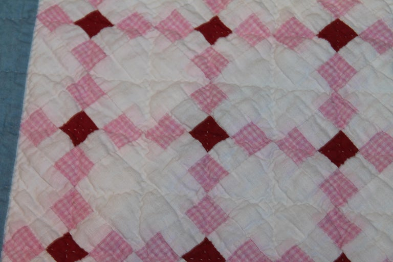 American Early 20th C Postage Stamp Quilt For Sale