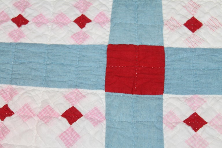 Hand-Crafted Early 20th C Postage Stamp Quilt For Sale
