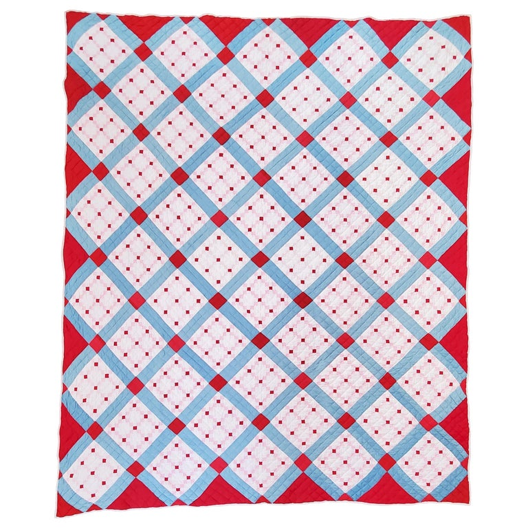 Early 20th C Postage Stamp Quilt For Sale