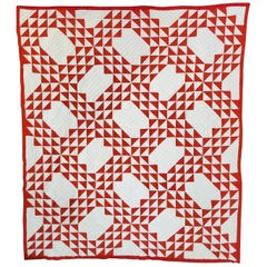 Early 20th Century Red and White Ocean Waves Quilt