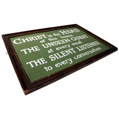 Religious Plaque; 'Christ is the Head of this House', circa 1915