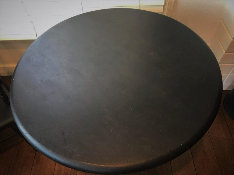 Other Early 20th Century Round Wooden Plank Top Table, Black For Sale
