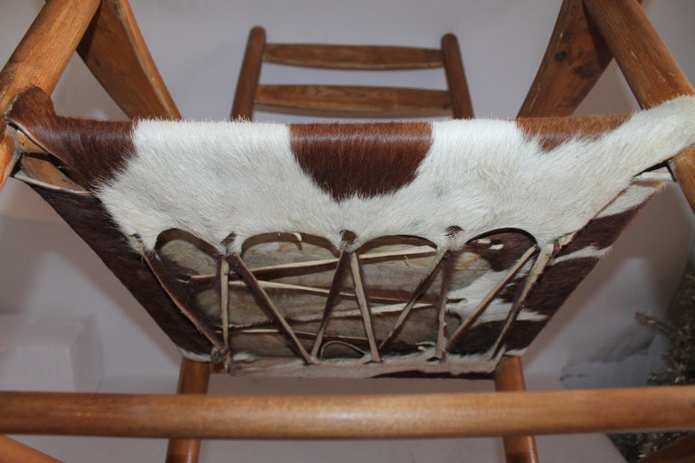 Early 20th Century South West Rocking Chair in Cowhide Seat For Sale 4