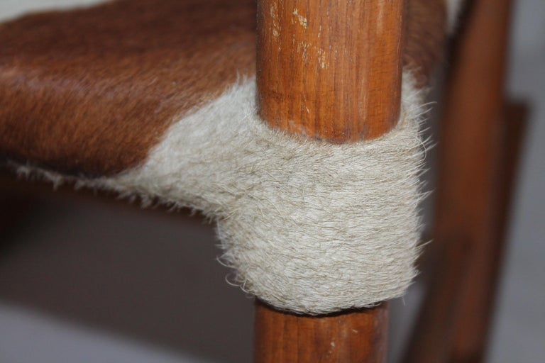 Leather Early 20th Century South West Rocking Chair in Cowhide Seat For Sale