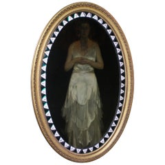 Early 20th Century Unusual Oval Irish Lozenger Green & Opaline Mirror Gilt Frame