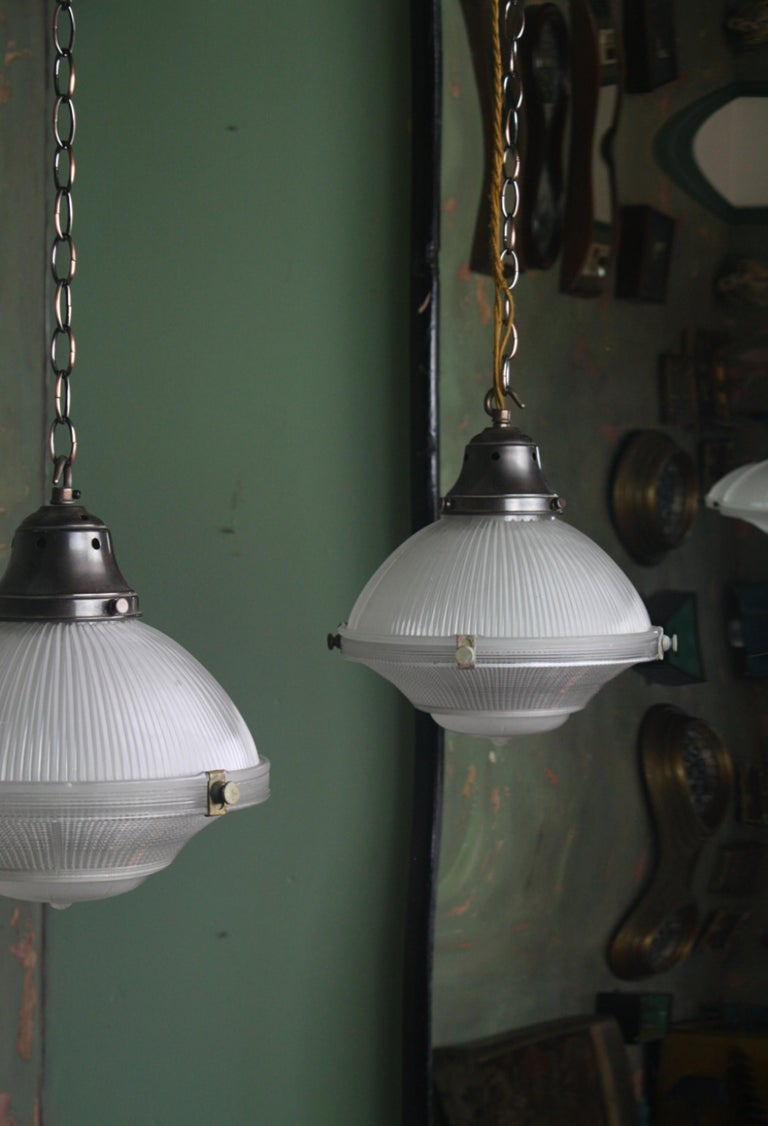 Early 20th Century Pair of Three Part Holophane Prismatic Glass Lanterns Lights For Sale 1