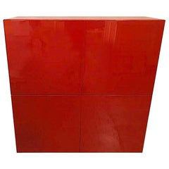 Early 21st Century Red Lacquer Bar/Cabinet, Piero Lissoni