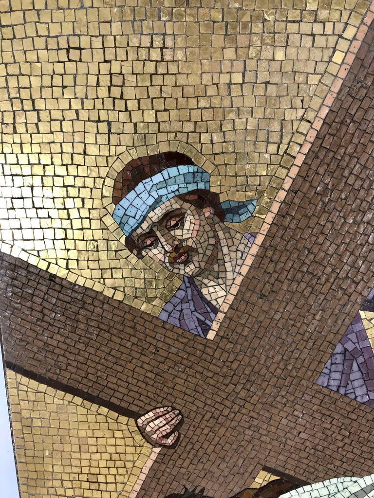 Early 20th century Religious Smalti (glass) mosaic wall plaque depicting a Station of the cross, salvaged from turn of the century church in downtown Buffalo NY, amazing tile work, superior quality ,very well executed, mosaic's set in