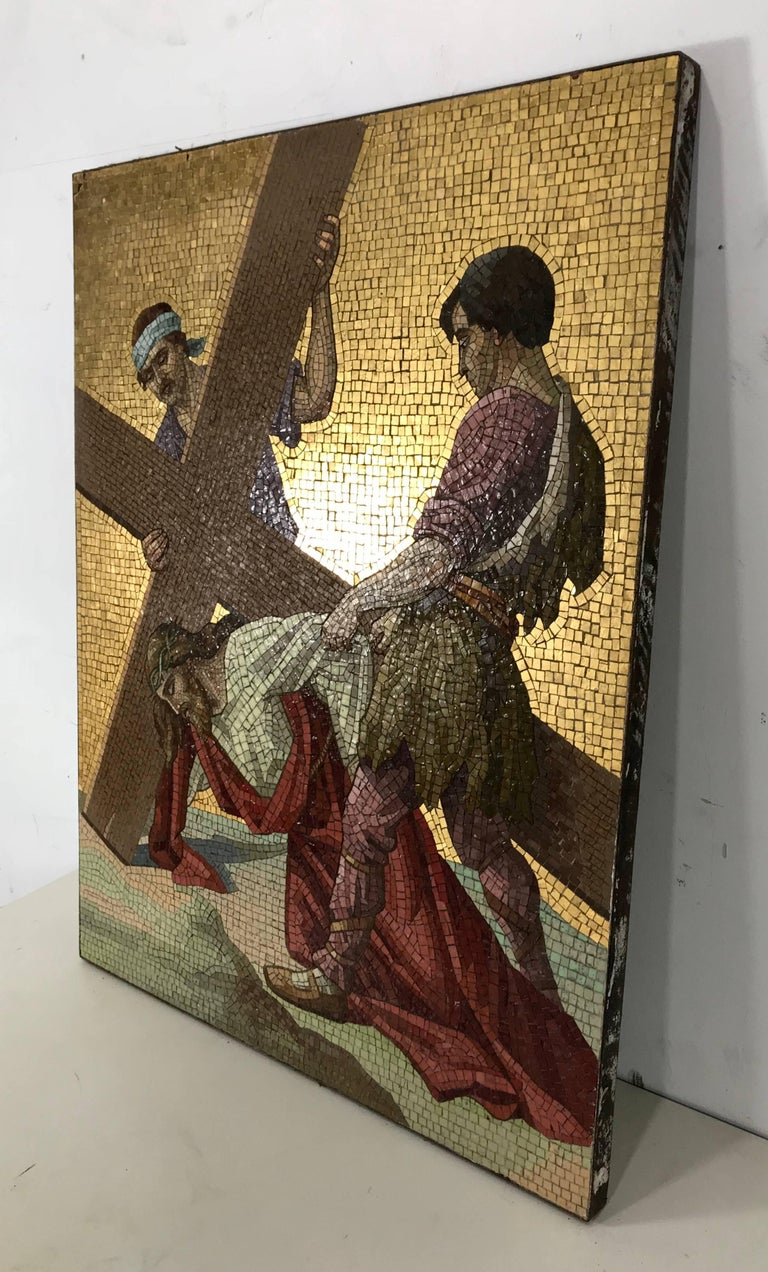 Early 20th Century Religious Smalti 'Glass' Mosaic Wall Plaque For Sale 1