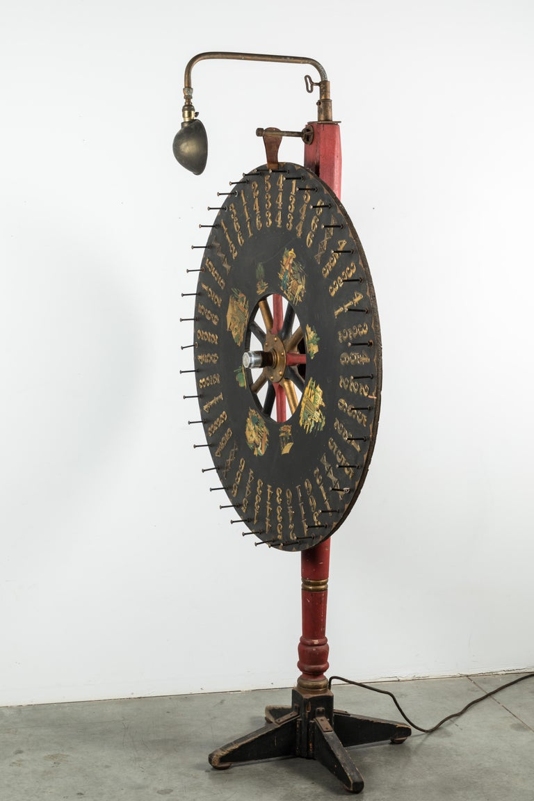 Early Carnival Midway 7.5 Foot Tall Game Wheel Monterey with Gooseneck Light For Sale 7