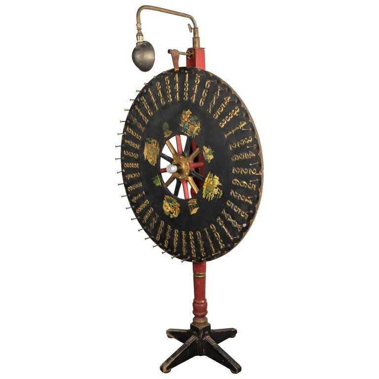 Early Carnival Midway 7.5 Foot Tall Game Wheel Monterey with Gooseneck Light For Sale