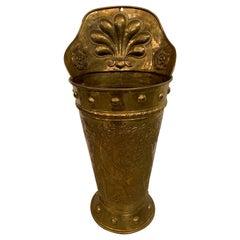 Early Adam and Eve Repoussé Brass Wine Harvest Basket Umbrella Holder