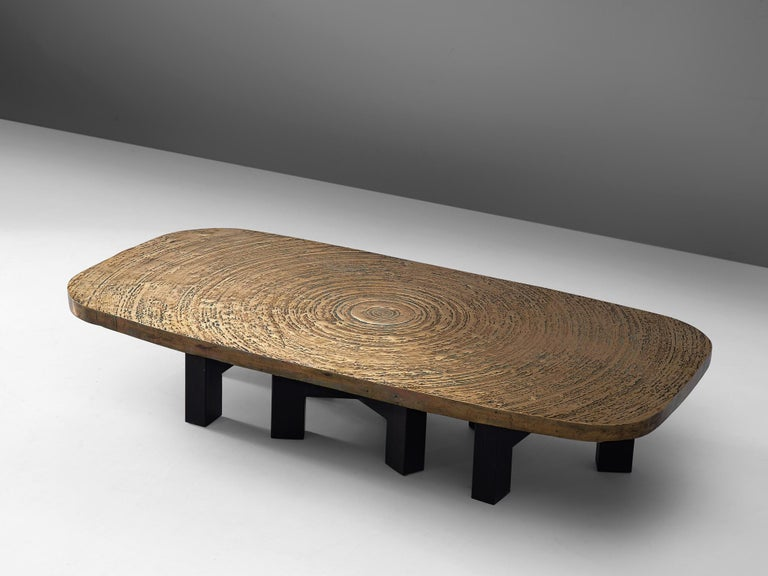 Belgian Early Ado Chale 'Goutte d'Eau' Coffee Table in Patinated Bronze For Sale
