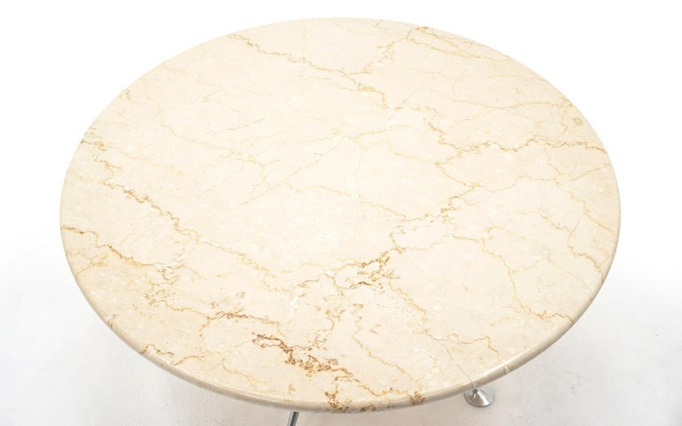 Mid-Century Modern Early Alexander Girard Round Coffee / Side Table, Beige Marble, Aluminum Base For Sale