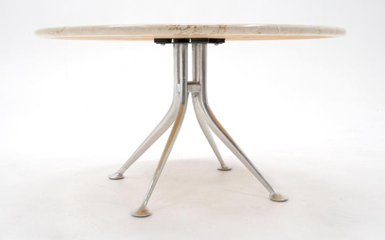 Early Alexander Girard Round Coffee / Side Table, Beige Marble, Aluminum Base In Good Condition For Sale In Kansas City, MO