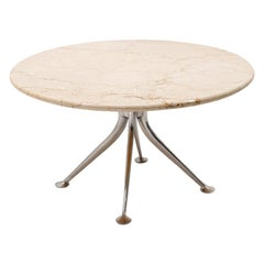 Early Alexander Girard Round Coffee / Side Table, Beige Marble, Aluminum Base