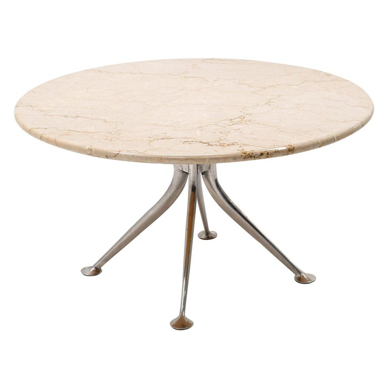 Early Alexander Girard Round Coffee / Side Table, Beige Marble, Aluminum Base For Sale