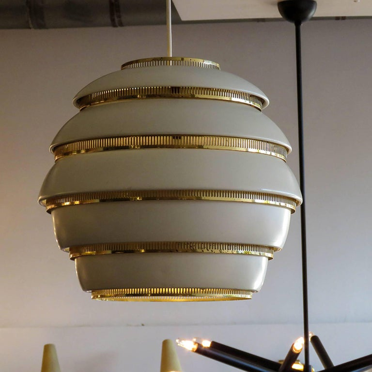 Enameled Early Alvar Aalto A331 Beehive Pendant For Sale