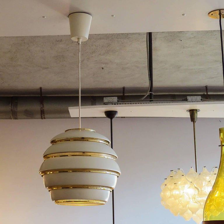 Early Alvar Aalto A331 Beehive Pendant In Good Condition For Sale In Los Angeles, CA