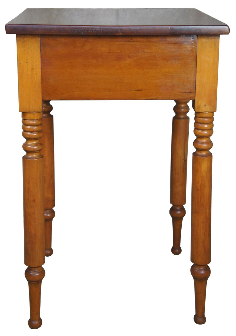 Victorian Early American 19th Century Primitive Antique Cherry Side Accent End Table For Sale
