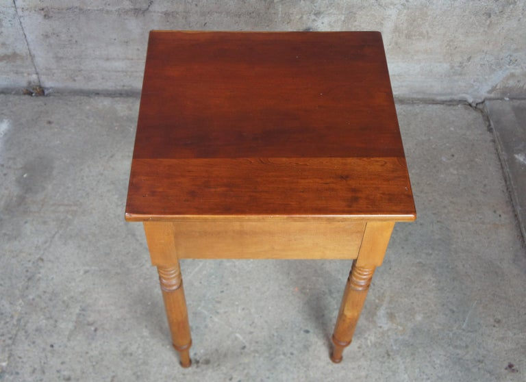 North American Early American 19th Century Primitive Antique Cherry Side Accent End Table For Sale