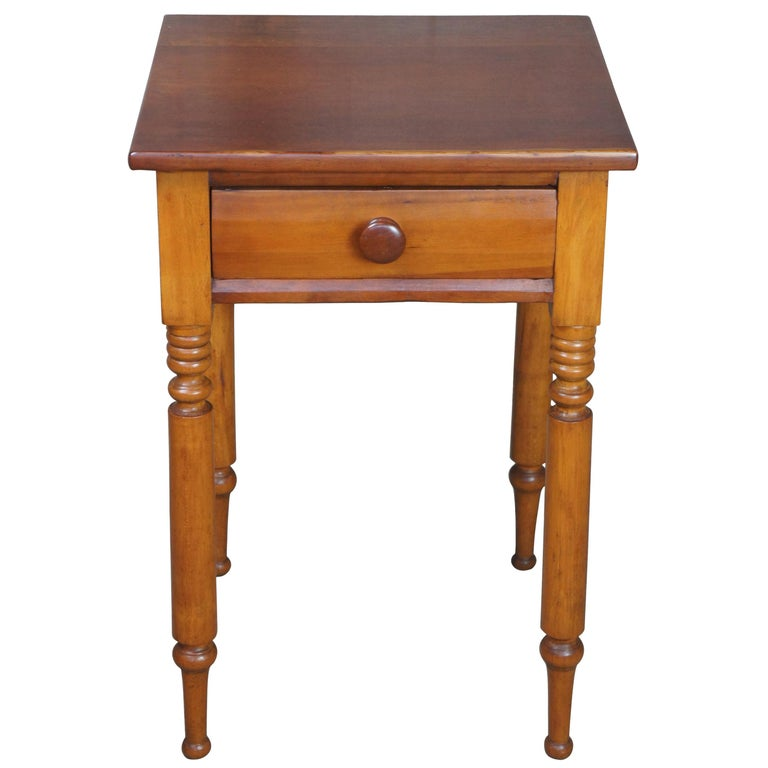 Early American 19th Century Primitive Antique Cherry Side Accent End Table For Sale