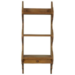 Early American 3-Tier Serpentine Country Farmhouse Wall Shelf with Drawer