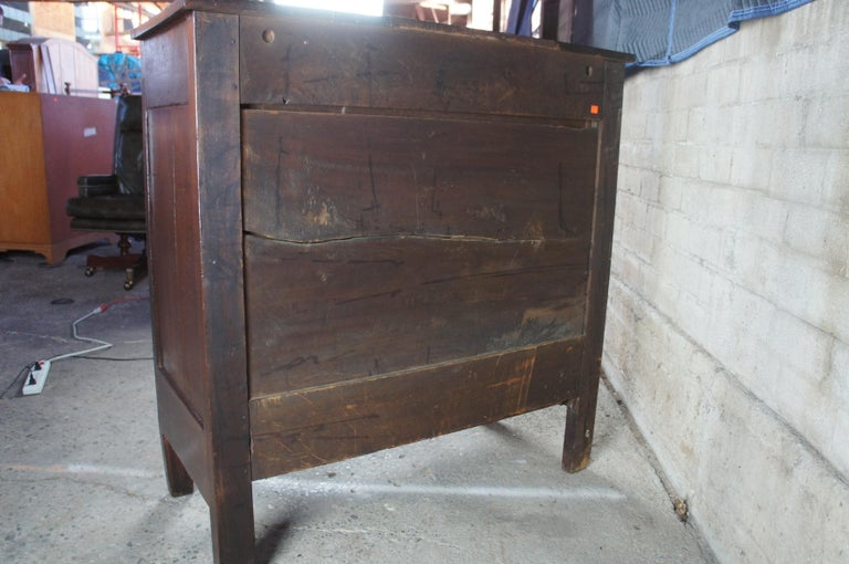 Early American Antique Pine 4-Drawer Tallboy Chest Rustic Primitive Dresser 6