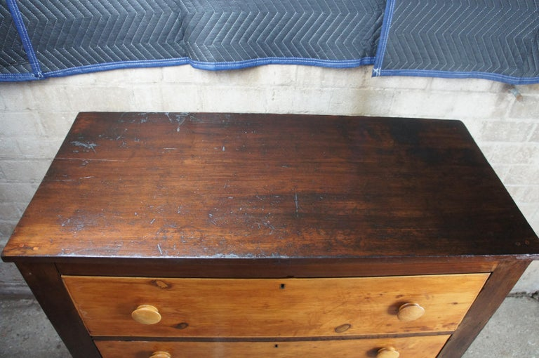 Early American Antique Pine 4-Drawer Tallboy Chest Rustic Primitive Dresser 8