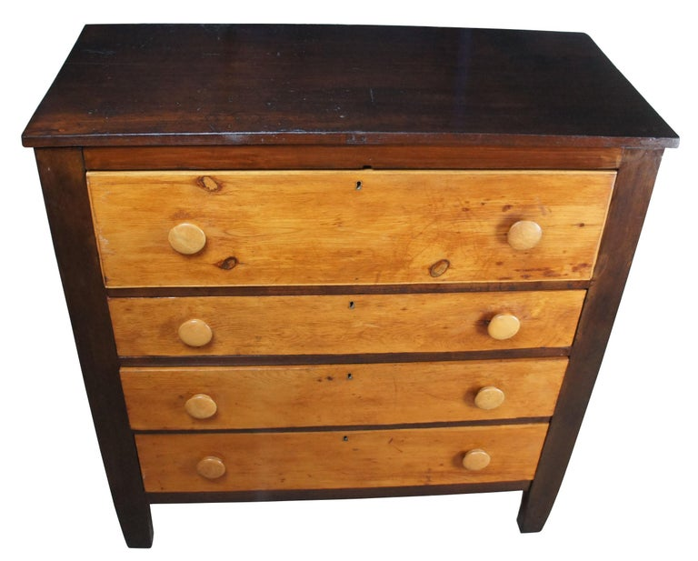 Early American Antique Pine 4-Drawer Tallboy Chest Rustic Primitive Dresser In Good Condition In Dayton, OH