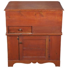 Early American Antique Pine Pennsylvania Lift Top Commode Cabinet Trunk Chest