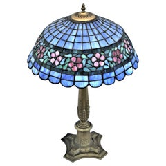 Early American Art Glass Foil Shade Lamp, Blue with Red Flowers Antique Base