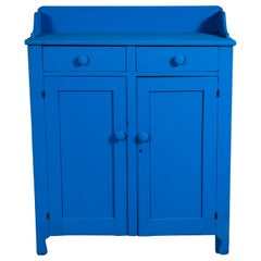 Early American Blue Painted Jelly Cabinet