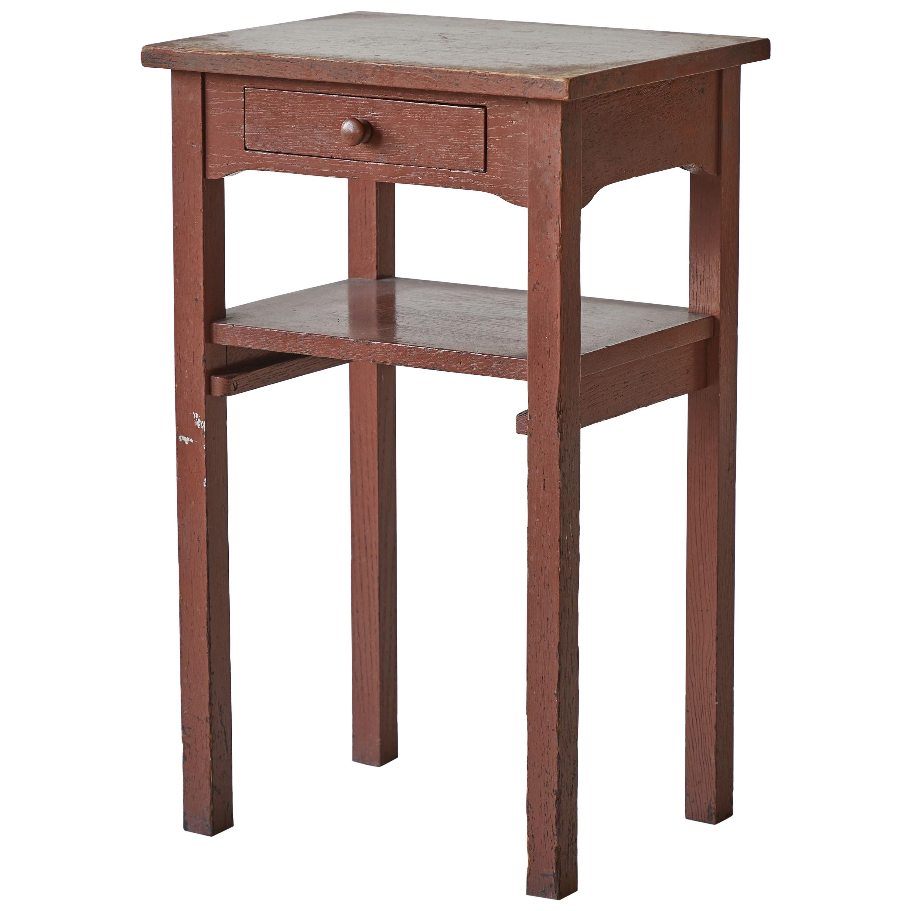Early American Brown Painted Side Table