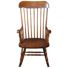 Early American Country Maple Spindle Rocking Chair Farmhouse Rocker Windsor