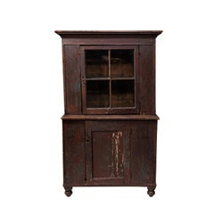 Early American Dark Wooden Hutch with Glass Door