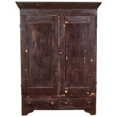 Early American Distressed Stained Armoire
