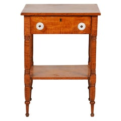 Early American Federal Tiger Maple One-Drawer Work Table or Stand, circa 1830