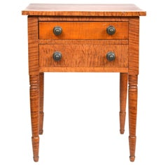 Early American Federal Two-Drawer Tiger Maple Work Table or Stand
