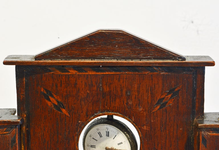 Early American Folk Art Pocket Watch Stand or Hutch in the form of a House For Sale 7