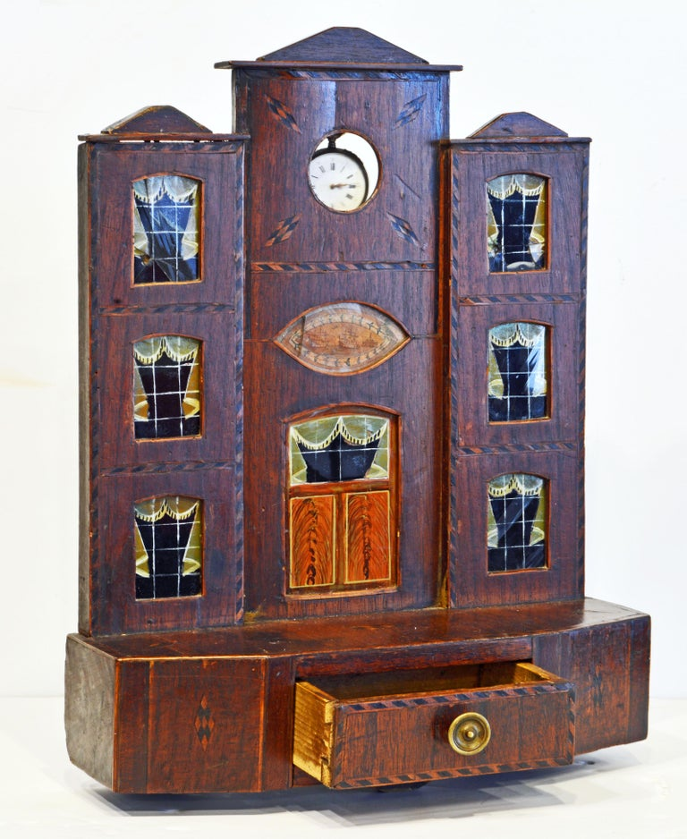 Inlay Early American Folk Art Pocket Watch Stand or Hutch in the form of a House For Sale