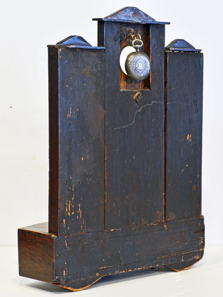 Early American Folk Art Pocket Watch Stand or Hutch in the form of a House In Good Condition For Sale In Ft. Lauderdale, FL