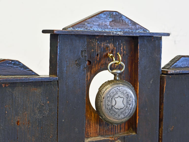 19th Century Early American Folk Art Pocket Watch Stand or Hutch in the form of a House For Sale