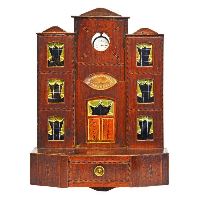 Early American Folk Art Pocket Watch Stand or Hutch in the form of a House For Sale