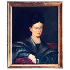 Early American Folk Art Portrait of a Young Lady