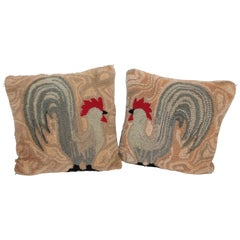 Early American Hooked Rug of Roosters Pillows, Pair