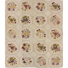 American Hooked Rug with Basket-Weave Pattern and Flowers