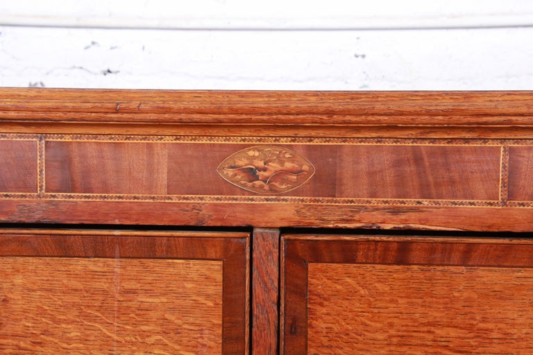 Early American Oak, Inlaid Mahogany, and Bone Inlay Chest of Drawers, circa 1820 For Sale 1