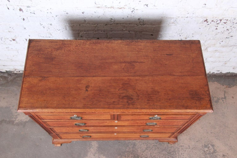 Early American Oak, Inlaid Mahogany, and Bone Inlay Chest of Drawers, circa 1820 For Sale 2